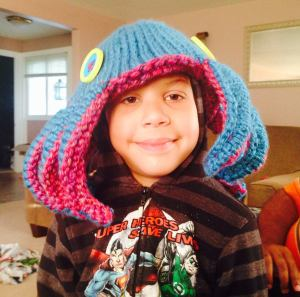 The most awesome knitted project of mine:  an octopus hat for the boy who loves all things tentacled.