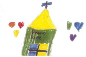 Art by Joy, a child who received the some books to take home from our Jackie's Books Mission Project.